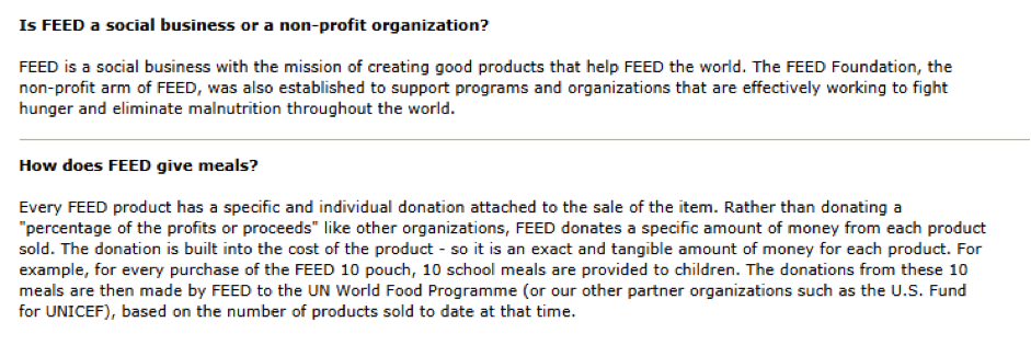 FEED is completely transparent about how and when they give back.