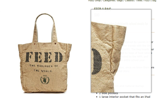 You can zoom in on FEED products. In this image you get a close view of the strong stitching and material.
